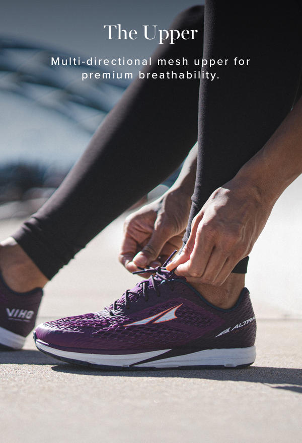 The Upper. Multi-directional mesh upper for premium breathability.